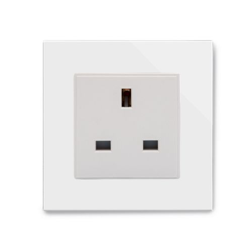RetroTouch Single Plug Socket 13A Unswitched White Glass PG 04042